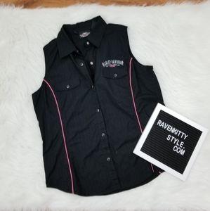 Harley Davidson Black Hot Pink Sleeveless Blouse M